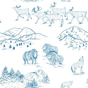 Arctic Wildlife Toile Pattern (White and Blue)