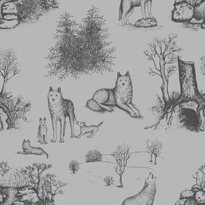 Eurasian Wolf Toile Pattern (Grey)