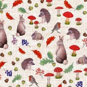 Rabbit, hedgehog Botanical Fall