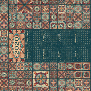 2020 Moroccan Tile Tea Towel Calendar