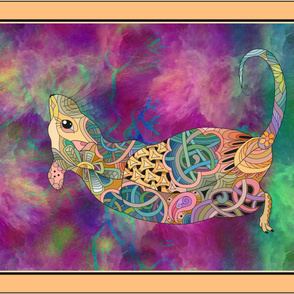 YARD PANEL PSYCHEDELIC BACK RAT 2 2020 DOODLE FRAMED CORAL HORIZONTAL FLWRHT
