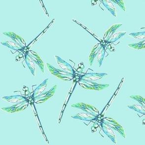 Nana's Dragonflies on Teal