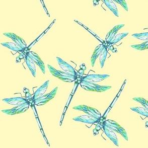 Nana's Dragonflies on yellow