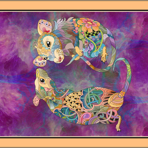 YARD  PANEL LET ME TELL YOU A SECRET RATS COUPLE 2020 DOODLE CORAL HORIZONTAL FLWRHT
