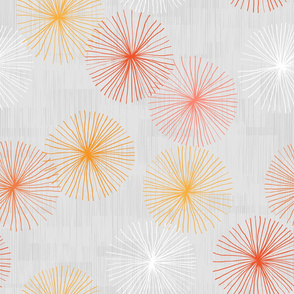 Dandelions Gray M+M oranges by Friztin