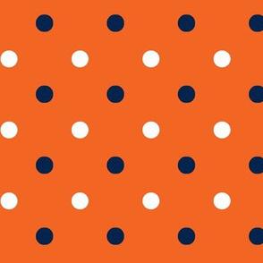 Navy and orange team color polka dot orange background