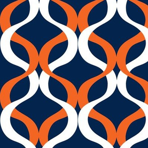 Navy and orange team color wave navy background copy