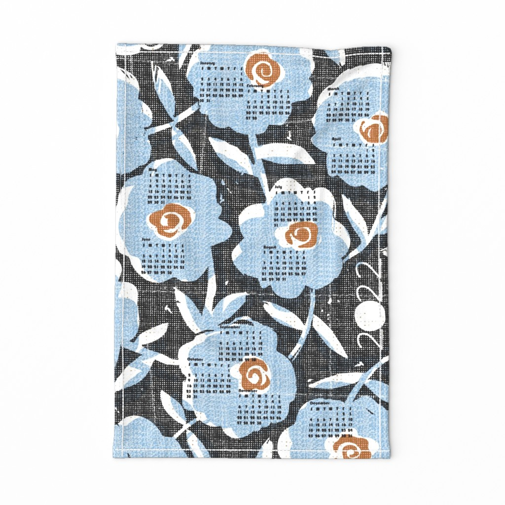 Special Edition Spoonflower Tea Towel featuring 2020 blue flowers tea towel calendar by ottomanbrim