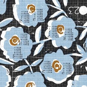 2020 blue flowers tea towel calendar