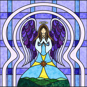 Praying Angel Stained Glass Quilt - Light Skin  - 1 YARD PANEL