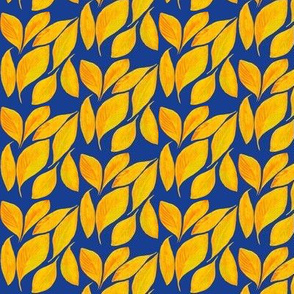 Golden Autumn Leaves Tossed by the Breeze on Navy Blue - Small Scale