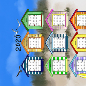 2020 beach hut tea towel calendar
