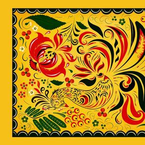 Tea towel inspired by folk art