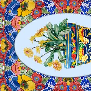 Talavera Pot Tea Towel - Blue.