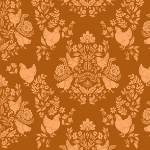Modern Damask with Chickens & Flowers