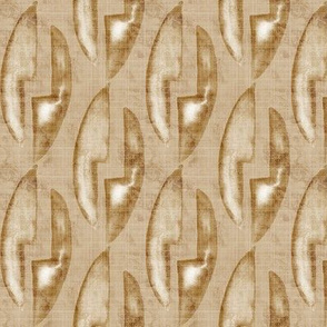19-12j Abstract Block Linen Tan Taupe Camel White