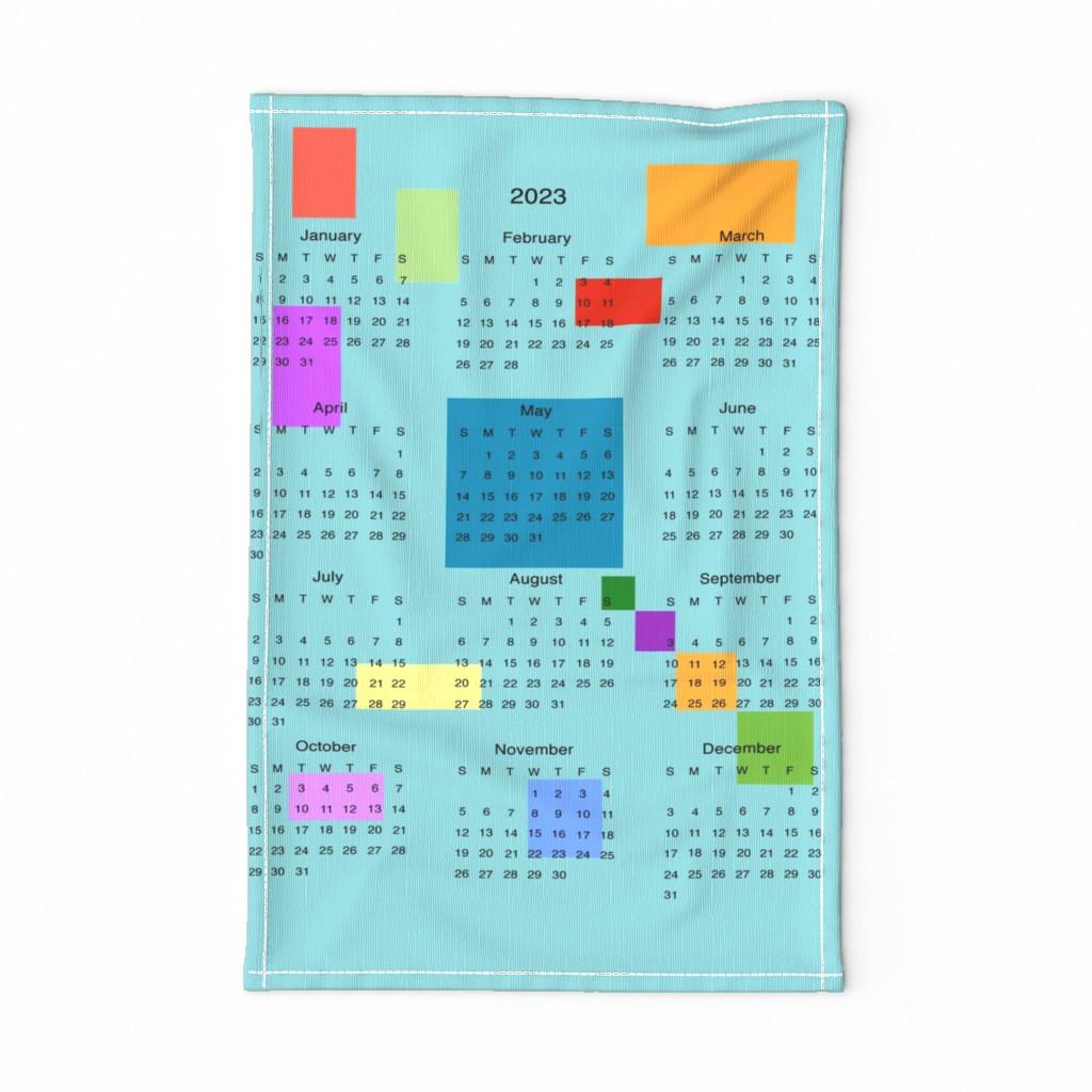 Special Edition Spoonflower Tea Towel featuring 2020 Calender -TeaTowel- Blue by scarlettrose