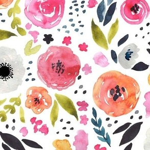 Fun Floral - Bright & Loose Watercolor Flowers - Large