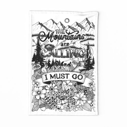 the mountains are calling tea towel black