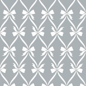 Bows in Soft Diamonds Light Grey