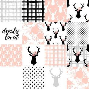 Pink and Black Deer Cheater Quilt - Wholecloth - Baby Blanket