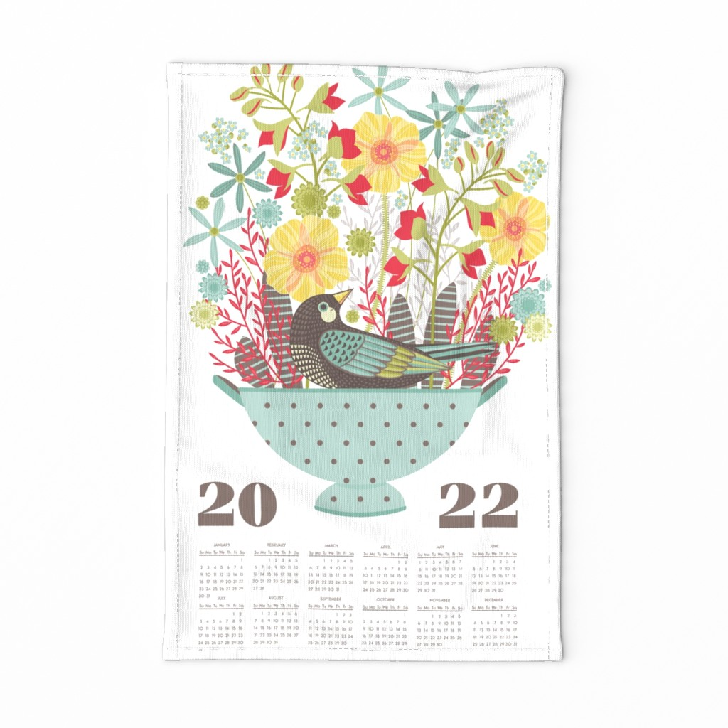 Special Edition Spoonflower Tea Towel featuring 2020 floral calendar by cjldesigns