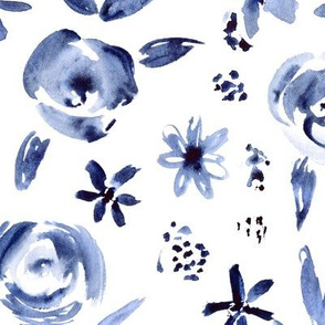 Indigo florals ll monochrome style watercolor floral pattern