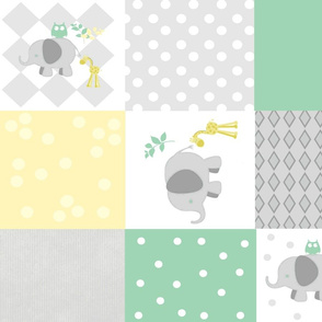 Elephant friends gray seafoam  cheaters quilt 21