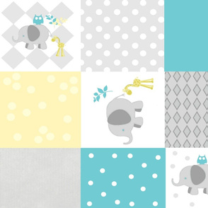 Elephant friends gray turquoise  cheaters quilt 21