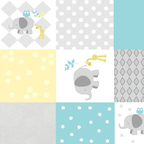 Elephant friends gray mint sky cheaters quilt 21