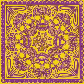 Yellow Sugar Skull Tile