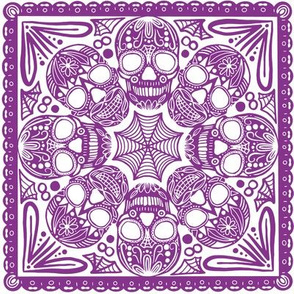 Purple Sugar Skull Tile