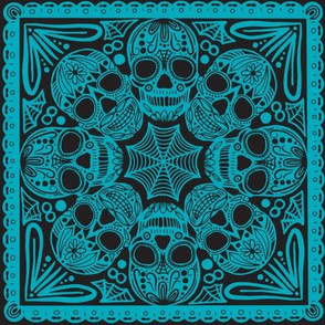 Blue Sugar Skull Tile