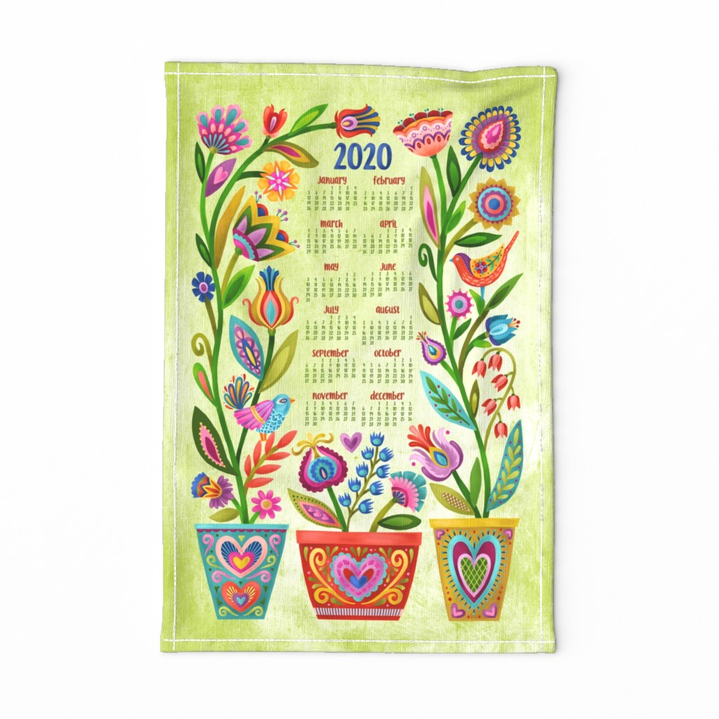 Special Edition Spoonflower Tea Towel featuring Birds and Blooms Tea Towel Calendar '20 by groovity
