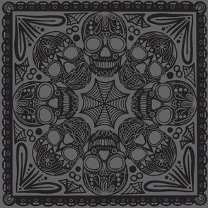 Gray Sugar Skull Tile