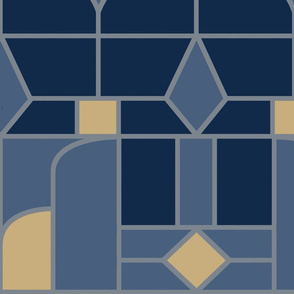 Art Deco Blue Silver and Gold Jumbo