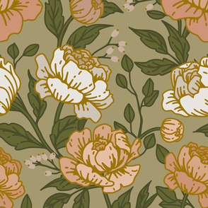 Chintz floral on sage