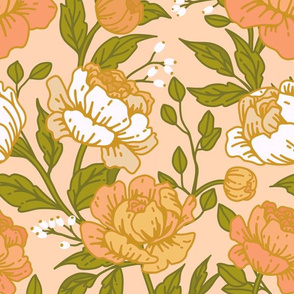 Chintz floral on pink