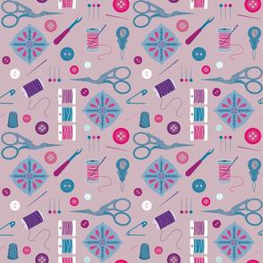 Sewing Notions on Purple - medium  scale