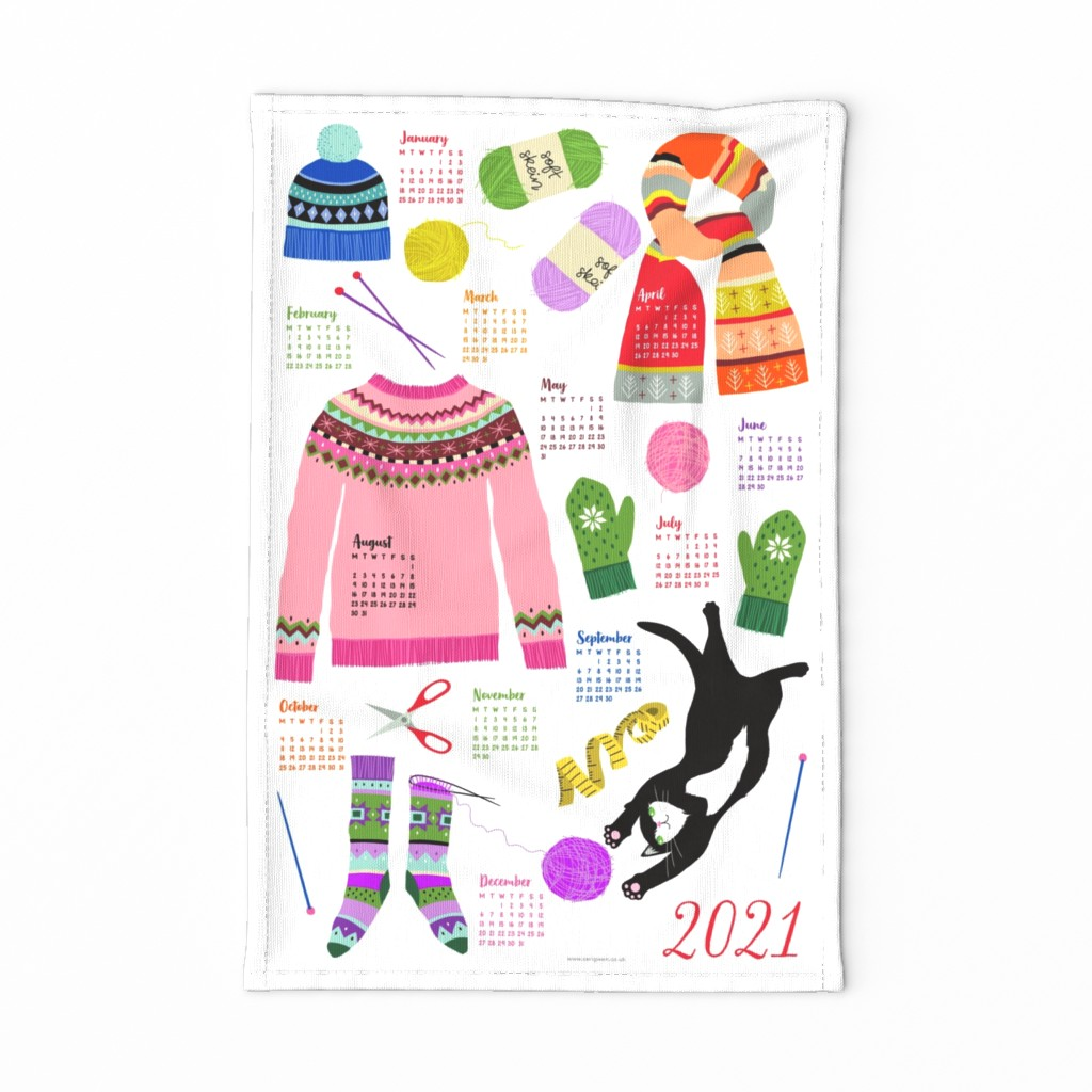 Special Edition Spoonflower Tea Towel featuring knitting calendar ENGLISH 2020 by cerigwen