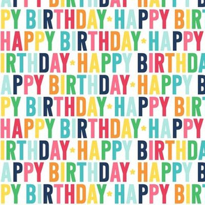happy birthday rainbow with navy UPPERcase