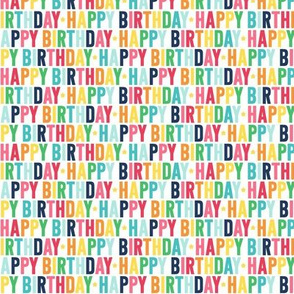 happy birthday XSM rainbow with navy UPPERcase