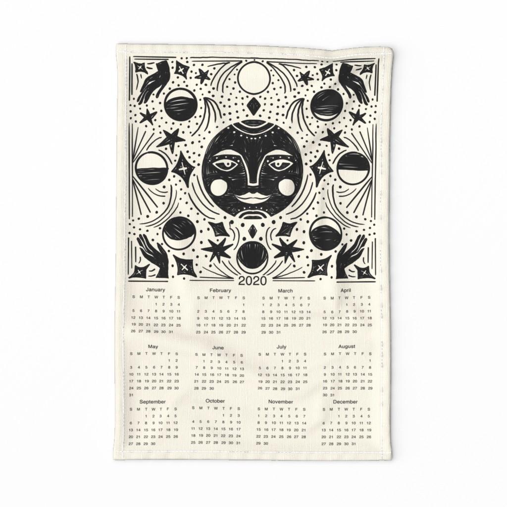 Special Edition Spoonflower Tea Towel featuring 2020 Moon Calendar - moon phase calendar, 2020 tea towel, tea towel calendar - cream by andrea_lauren