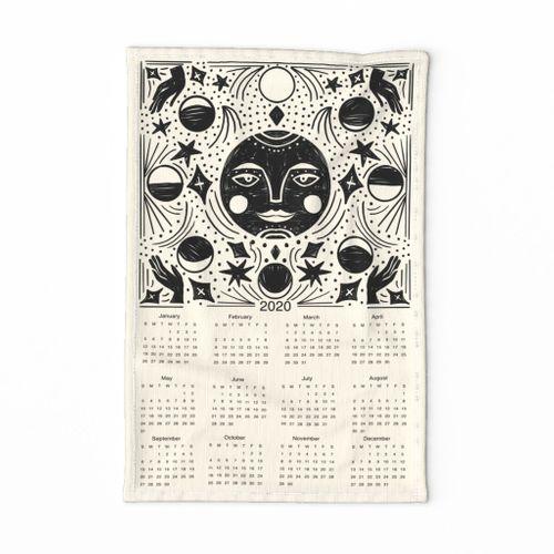 2020 Moon Calendar - moon phase calendar, 2020 tea towel, tea towel calendar - cream