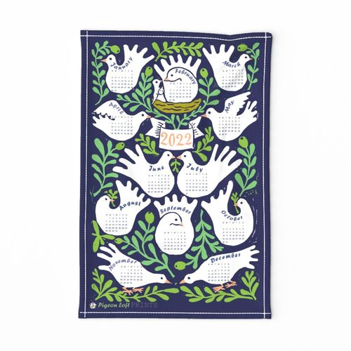 Linocut Doves and Olive Branches- 2021 Calendar Tea Towel