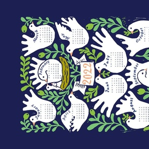 Linocut Doves and Olive Branches- 2020 Calendar Tea Towel