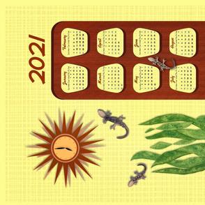 Mid century calendar tea towel with geckos
