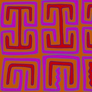 Kuna Indian Tribal Key Hole Design - Magenta Orange Red