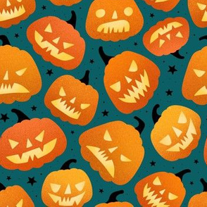 medium scale / halloween pumpkins green background