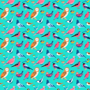 Birds and Siren on Turquoise - small scale